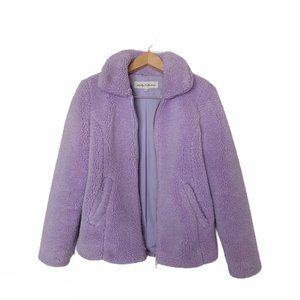 Sebby Collection Lavender Faux Fur Teddy Jacket S
